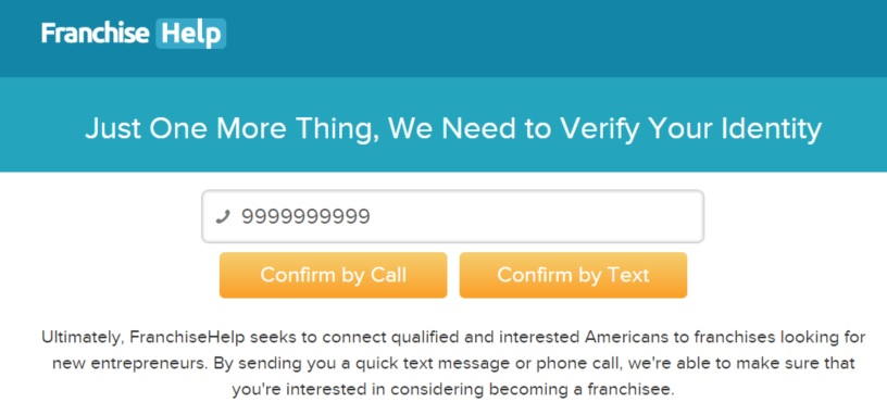 FranchiseHelp Call/Text Verification Screen