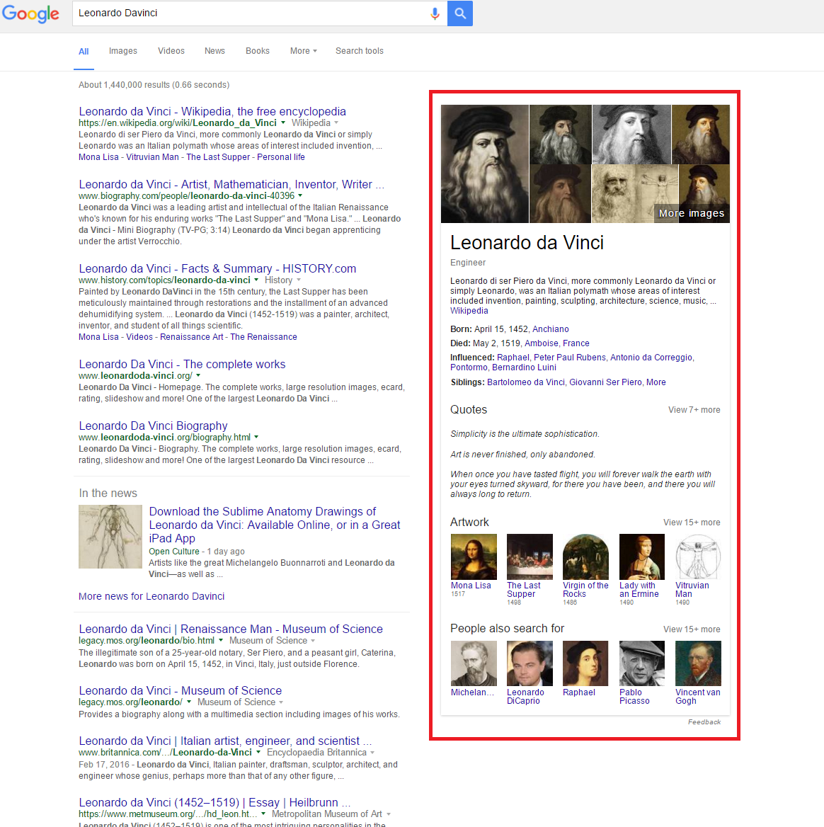 Google SERP with Knowledge Graphs