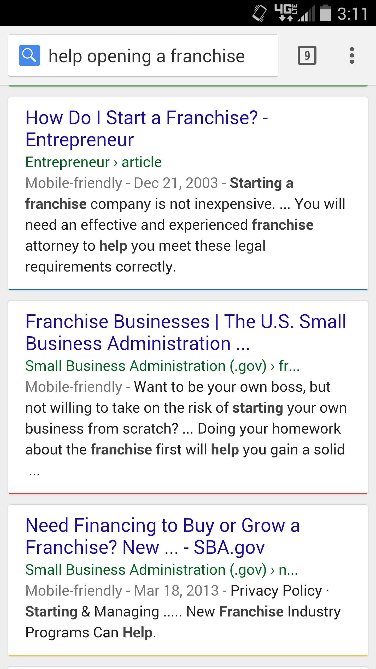 Mobile Google SERP for