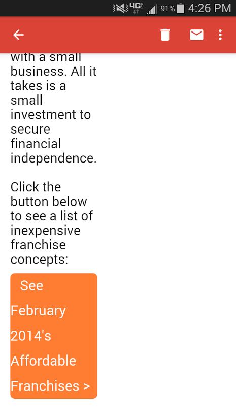 FranchiseHelp February 2014 Sample Email on Mobile