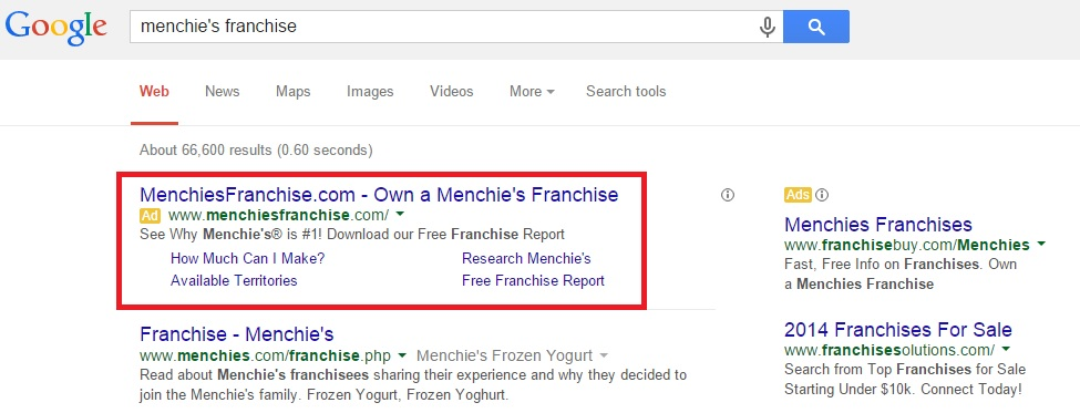 Menchies Google SERP
