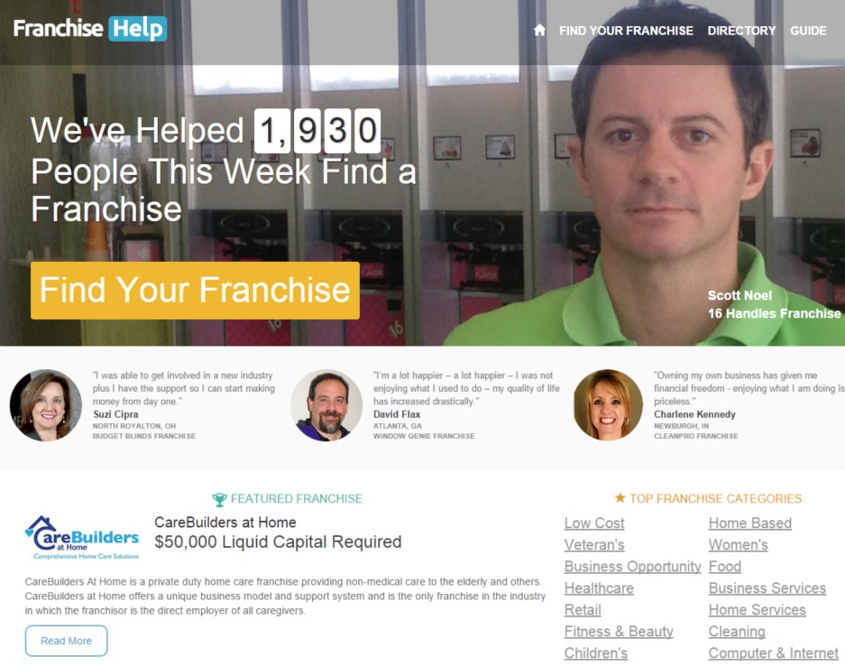 FranchiseHelp.com -- Desktop Homepage