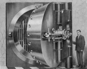 man in front of old vault