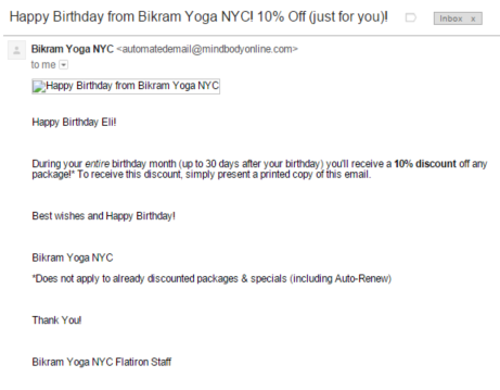 Bikram Yoga Birthday Email