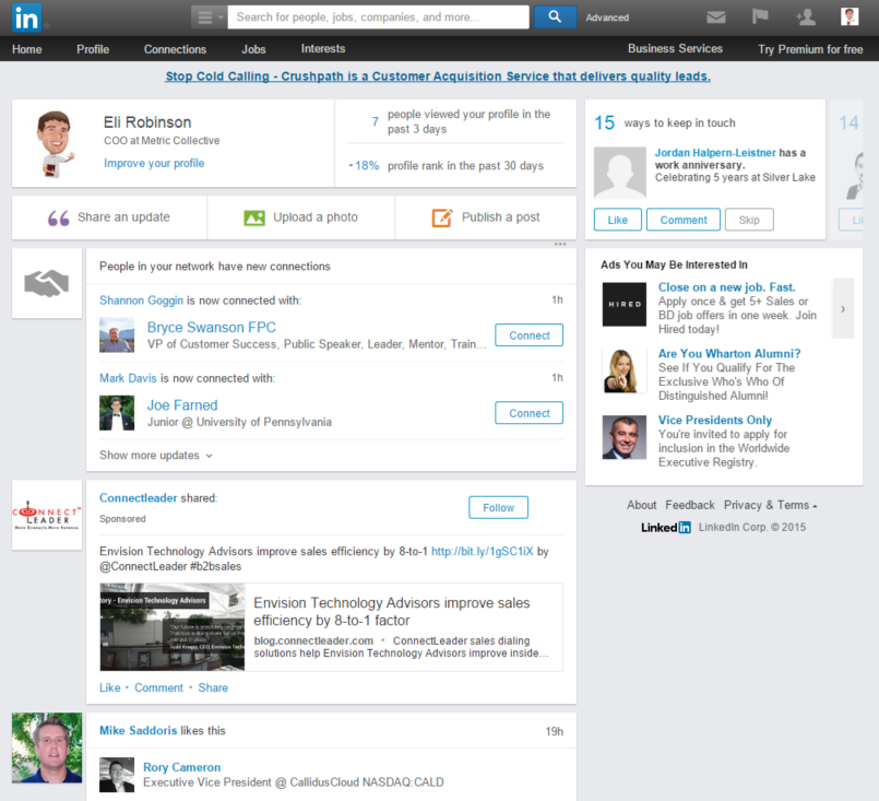 Sample LinkedIn News Feed
