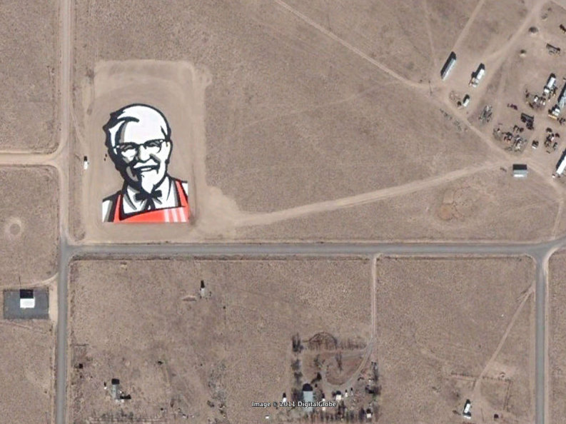 KFC Franchise Ad of Colonel Sanders Visible from Space