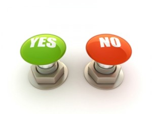 Buttons with Yes and No on them
