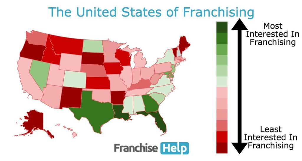 United States of Franchising Map By FranchiseHelp