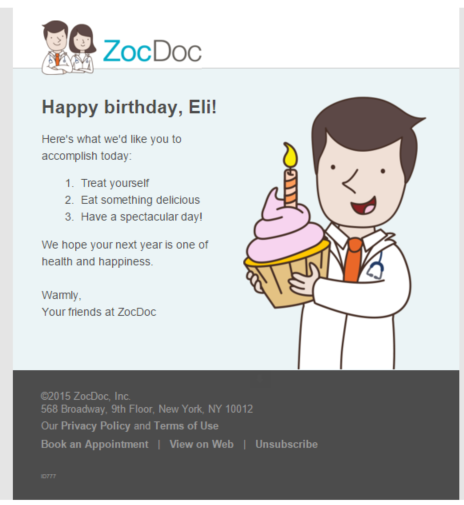 ZocDoc Birthday Email
