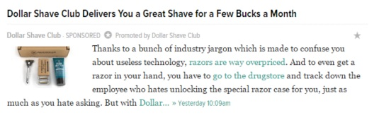 Deadspin.com Native Ad Headline for Dollar Shave Club