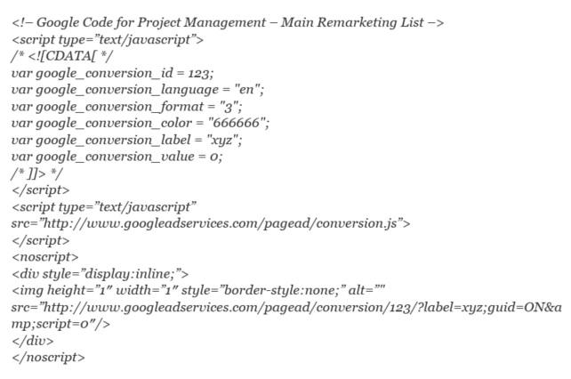 Google Retargeting Remarketing Sample Code