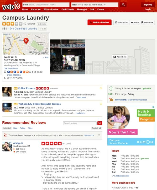 Yelp Campus Laundry Profile Page
