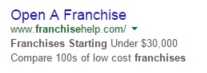 FranchiseHelp Google Search Ad