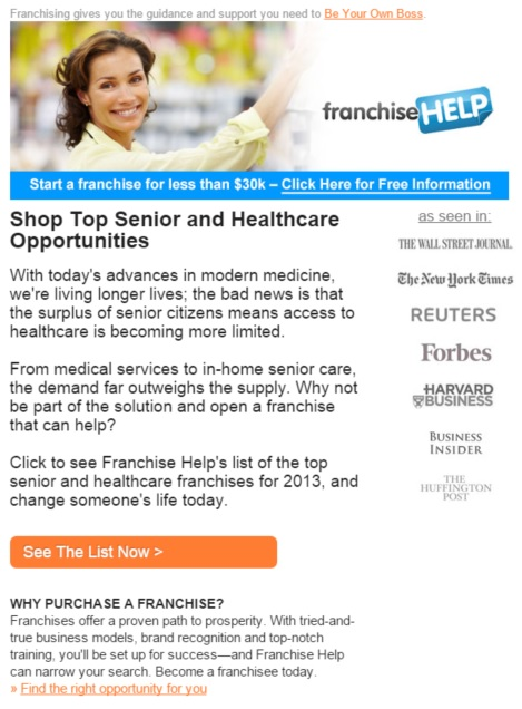 FranchiseHelp Healthcare Email