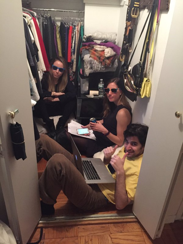 Friends Podcasting In Their Closet