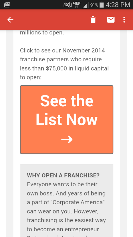 FranchiseHelp December 2014 Sample Email on Mobile